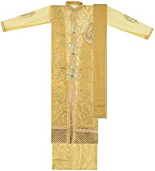 Maria Collection Women's Unstitched Dress Material (Golden)