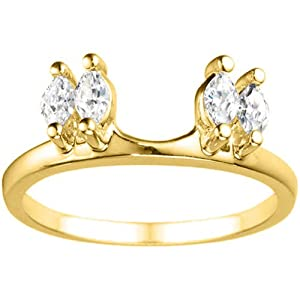 10k Yellow Gold Ring Wrap (0.15 crt. Cubic Zirconia).