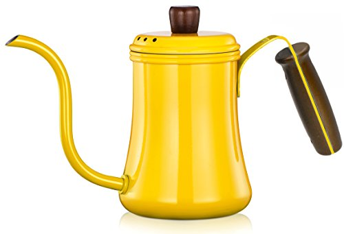 Diguo Classic Pour Over Kettle Coffee Hand Drip Kettle Coffee Pot Tea Pot with Wooden Handle (0.7 Liter), Gooseneck (Yellow)