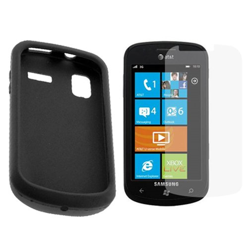 GTMax Black Silicone Skin Soft Case+LCD Screen Protector For Samsung Focus i917 Cell Phone