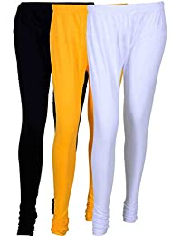 Fashion And Freedom Women's Cotton Leggings Pack Of 3_FFCL_BYW_BLACK-YELLOW-WHITE_FREESIZE