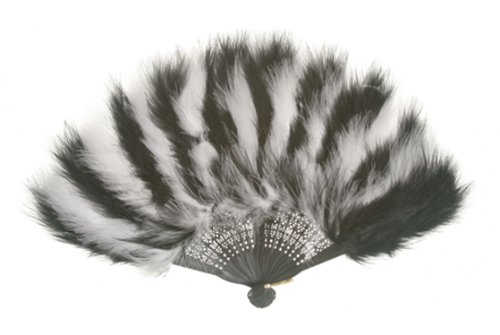 Zucker Feather Marabou Fan with Section Colors Plastic Staves White and Black