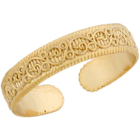 10k Real Yellow Gold Celtic Band Design Ladies Toe Ring