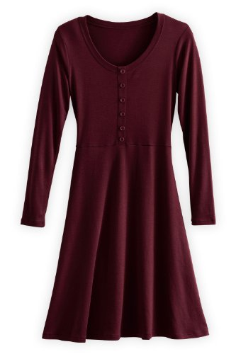 Fair Indigo Organic Pima Cotton Henley Dress