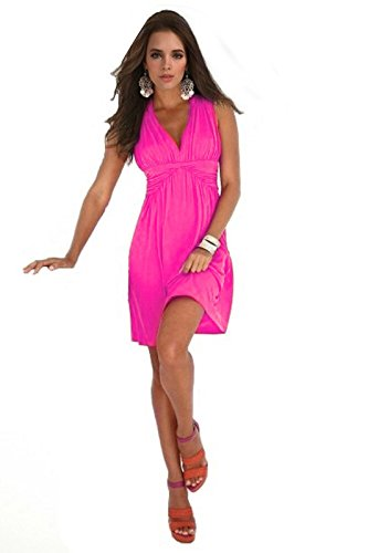 Charm Your Prince Women's Sleeveless Summer Sun Dress Large Hot Pink