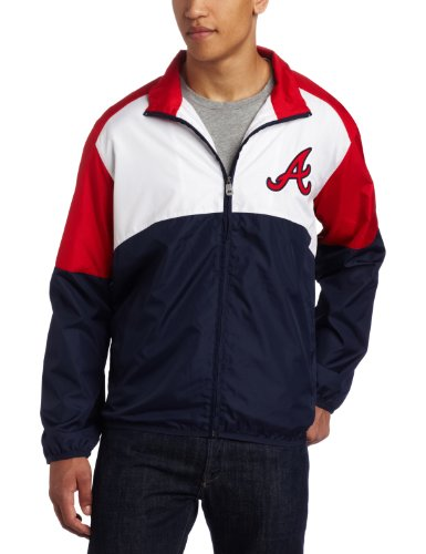 MLB Men's Atlanta Braves Sports Night Lightweight Full Zip Jacket (Athletic Navy/Athletic Red/White, Large)