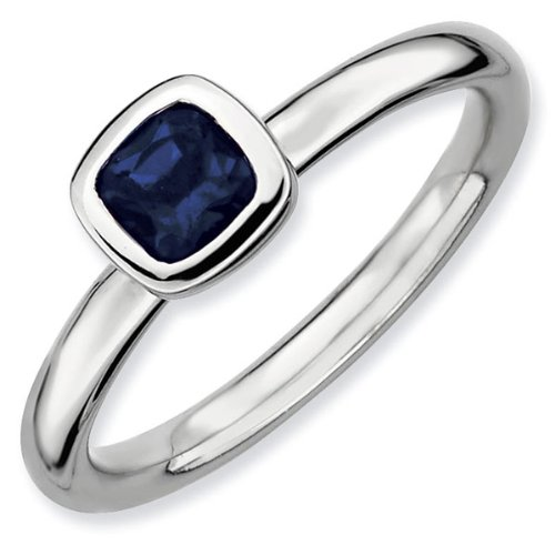 Cushion Cut Created Sapphire Stackable Ring - Size 7