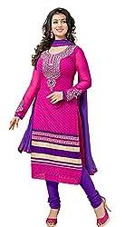 Pari Presents Women's Georgette Dress Material (Pink)