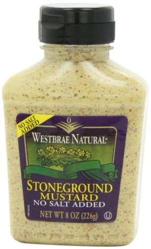 Westbrae Natural Stoneground Mustard, Salt-free, 8 Ounce Bottle (Pack of 12)