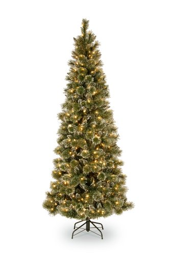 National-Tree-Company-7-12-Feet-Glittery-Bristle-Pine-Slim-Tree-with-600-Soft-White-LED-Lights