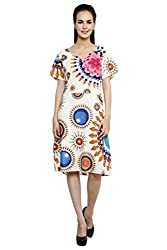 Anekaant White Multi Printed Cotton A-line Dress