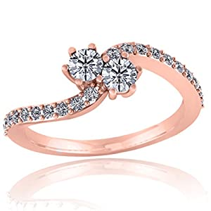 Pretty Jewellery Two- stone Engagement Ring in 10K Gold White Real Diamond 0.47Ct ( I2-I3, H) (rose-gold, 10)