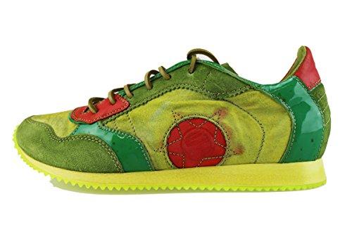 MANAS sneakers uomo verde camoscio tessuto vernice AH925 (45 EU)