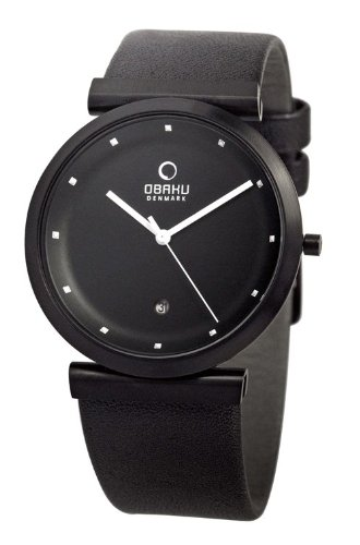 Obaku V137UBBRB - Reloj analógico de cuarzo unisex con correa de piel, color negro