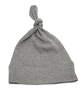Mato & Hash 100% Cotton Adjustable Infant Baby Knot Hat Deep Heather Grey