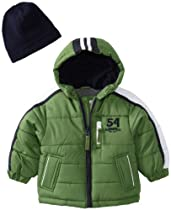 London Fog Baby Colorblock Puffer with Stripes, Green, 24 Months
