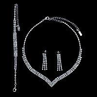 Silver Tone Rhinestone Bridal Necklace Earrings Bracelet 3-pcs Set