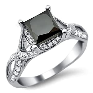 2.30ct Princess Cut Black Diamond Engagement Ring 18k White Gold