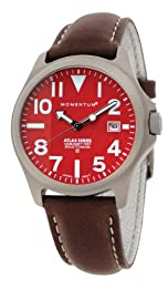 Momentum Atlas Men's Quartz Watch with Red Dial Analogue Display and Brown Leather Strap 1M-SP00R2C