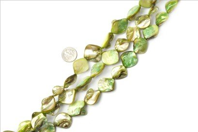 15x20mm gemstone light-greenSea shell beads strand 15