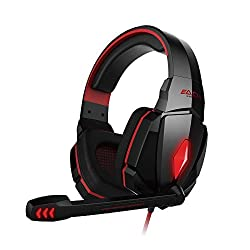 ECOOPRO® 3.5mm Over Ear Stereo Gaming Headphones Headset with Microphone In-line Wheel Control for Volume and mic Perfect for PC Games and Listening Music (Red)