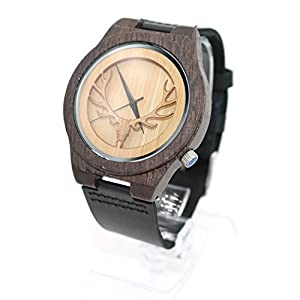 Bisika Women Man Lady Girls Boy Hollowed-out Deer Wooden Watches Handmade Leather Strap Chain Band Black