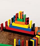 HearthSong Domino Race Set, 255 Pieces in Bright Colors and Fun Patterns