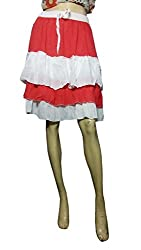 Anuze Fashions Orange & White Colour Skirt For Women's And Girl's