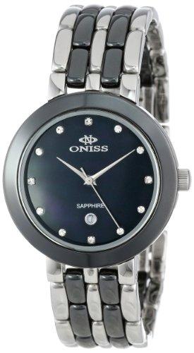 Oniss Paris Women's ON818-L-BLK Daisy Ceramic Collection Black Watch