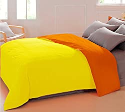 AURAVE Reversible Style Solid Plain Yellow & Orange Mercerised Cotton Duvet Cover/ Quilt Cover -Single Size (Gift Wrapped)