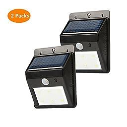 JasGood 6 Leds Solar Sensor LED Light-PIR Motion Sensor-10ft Detection Range with Dusk to Dawn Dark Sensing Auto On/off Function (Pack of 2)