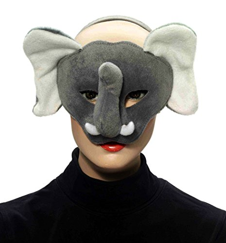Forum Novelties Deluxe Plush Gray Elephant Animal Half Mask - 1