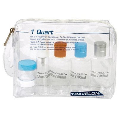 Travelon Zip Top Bag with Plastic Bottles, 1-Quart, Clear