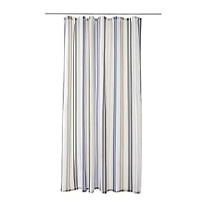 Ikea Kalvsjon Shower Curtain Beige Blue White