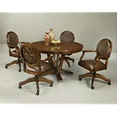 Pastel Devon Coast 5 Piece Round Wood Dining Room Set w/ Devon Coast Caster Chairs
