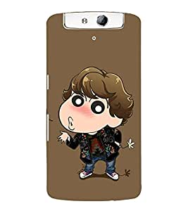 Vizagbeats Animated Boy in Brown Back Case Cover for Oppo N1