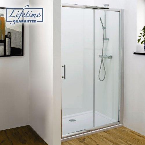 Trueshopping Polished Silver Sliding Shower Door: Sizes 1000mm-1200mm 1200mm