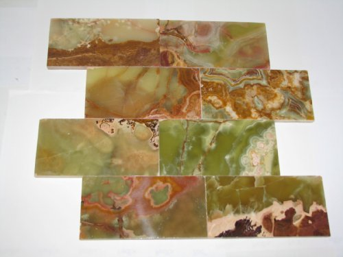 3x6 Multi Green Onyx Subway Brick Polished Tiles for Backsplash, Shower Walls, Bathroom Floors