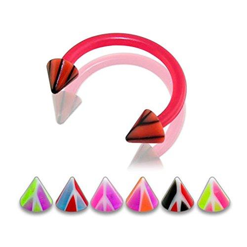 16gx1-4-12x6mm-bioflex-circular-barbell-with-3mm-uv-multi-colored-basketball-cone-body-jewelry-10-pi