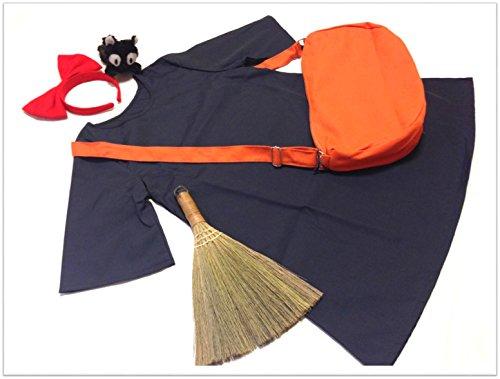 ... 魔女の宅急便 キキ 風 コスプレ 衣装 4点 セット ( ワンピース カチューシャ バッグ 黒猫 ...