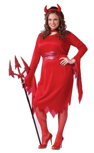 [Delightful Devil Costume - Plus Size 1X/2X - Dress Size 16-24] (Lady Reaper Adult Plus Size Costumes)