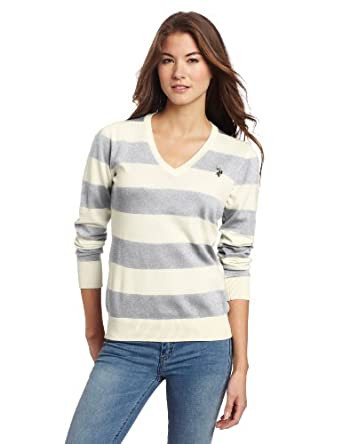 U.S. Polo Assn. Women's Striped Signature Sweater, Heather Grey, Small