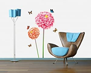 Bigmouth Two Tall Red Blossoming Flowers with Flying Butterflies Wall Art Mural Decor Decal Wall Sticker from Bigmouth