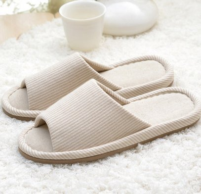 HSE soft bottom shoes home care home flooring silent autumn and winter indoor slippers ,hausschuhe damen,Gr??e 35-38 Frauen tragen k?nnen,Beige gestreift