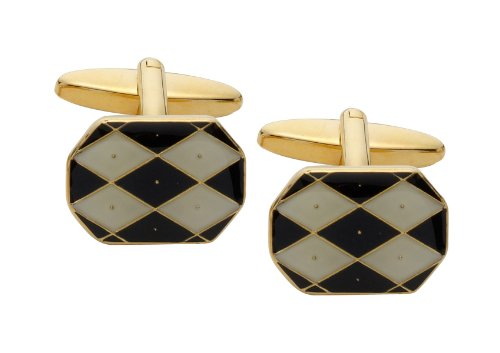Code Red Black and White Gold Plated Cufflinks with Enamel Diamond Shapes