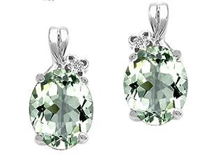 Tommaso Design(tm) Oval 8x6mm Genuine Green Amethyst and Diamond Earrings in 14 kt White Gold
