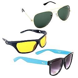 Elligator Stylish Aviator Gold Green And Nightvision Yellow With Blue Wayfarer Sunglasses Combo ( Set of 3 )