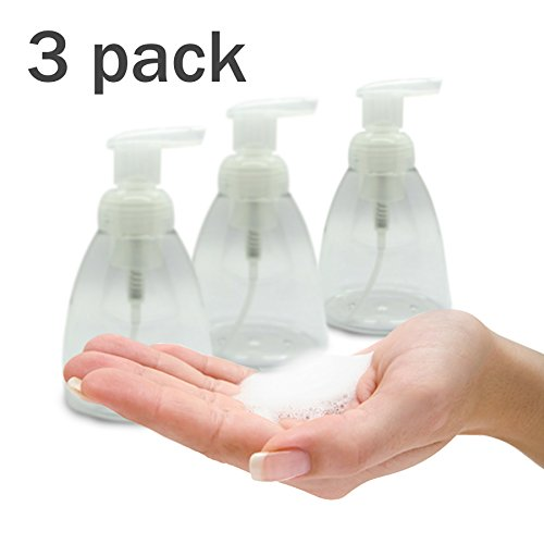 Foaming Soap Dispenser Set of 3 pack 300ml (10 oz) Empty Bottles Hand Soap Liquid Containers. Save Money! Less soap is used per hand washing session Perfect for Castile Liquid Soap (Foam Soap Hand Dispenser compare prices)