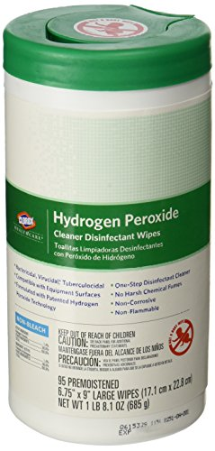 Saalfeld 30824 Clorox Healthcare Hydrogen Peroxide Cleaner Disinfectant Wipes, Kills Norovirus, Rotavirus, HIV, Poly-bag Protected,  6.75