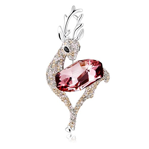 PLATO-H-Lovely-Deer-Brooch-with-Swarovski-Crystals-Christmas-Gift-for-Her-Classic-Pink